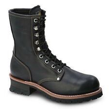 """Mens Black 9"""" Logger Oiled Leather WP Work Boots BONANZA 901 Size 5-13 (D, M)"""