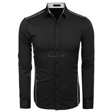 Men Fashion Slim Turn Down Collar Long Sleeve Button Down Casual Shirts OO5501
