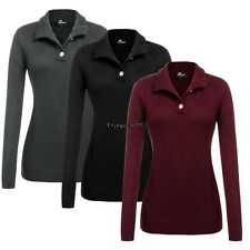 Women Turtleneck/V-Neck Button Long Sleeve Solid Slim Fit Pullover OO5501