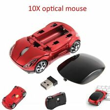 10x Adjustable 1000DPI Wireless Car Optical Gaming Mouse For PC + USB receiver O