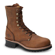 "Mens Brown 9"" Logger Oiled Leather WP Work Boots BONANZA 901 Size 5-13 (D, M)"