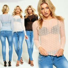 WOMENS LADIES CASUAL STYLISH STRETCH POLKA DOT LONG SLEEVE MESH TOP SEXY T SHIRT