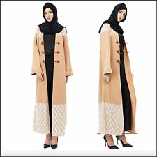 Dubai Style Muslim Lady Long Dress Open Front Abaya Islamic Jilbab Maxi Clothes