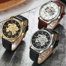 Black Brown Leather Wrist Automatic Skeleton Watch Mechanical Diamond Dial Sport