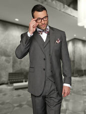 MENS 3 PC 2 BUTTON Taupe 150S WOOL BUSINESS EVENING SUIT Fashion Fit Pleated