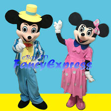 Pink Minnie & Blue Mickey  Mouse Mascot Costume Fancy Dress Adult Size Free Ship