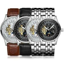 Leather Stainless Steel Band Skeleton Mechanical Automatic Watch Steampunk Mens