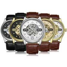 Mechanical Skeleton Automatic Wrist Leather Watch Steampunk Stainless Steel Gift