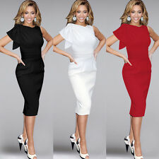 Chic Women Pleated Flouncing Sleeve Bodycon Cocktail Party Evening Pencil Dress