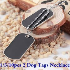 10X Army Military Style Black 2 Dog Tags Chain Double Beauty Pendant Necklace AU