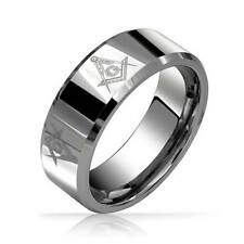 Bling Jewelry Freemason Masonic Mens Tungsten Band Ring Beveled Edge 8mm