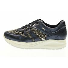 Shoes Igi&Co Classic Sneaker Wedge 77777 00 Woman Suede Glitter Stud Blue Made