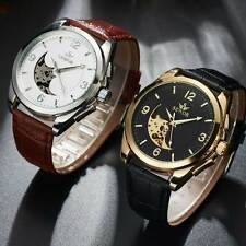 Mens Black Brown Leather Skeleton Wrist Automatic Watch Mechanical Arabic Dial
