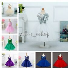 Girl Kids Sequin Flower Princess Formal Party Wedding Bridesmaid Communion Dress