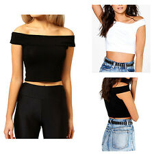 New Womens Stretch Short Sleeve Off Shoulder Bardot Crop T-Shirt Ladies Top
