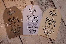 Personalised Rustic Lottery,scratchcard holder wedding favour tags Love & Riches