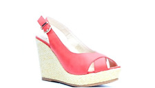 LADIES/WOMENS SIZE 4,5,6 RED/ROUGE CROSSOVER SLINGBACK ESPADRILLE WEDGE SANDALS