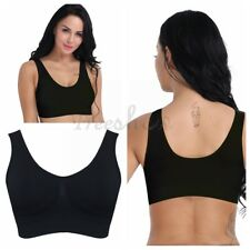 Women Yoga Fitness Running Gym Workout Tank Top Seamless Padded Sports Black Bra