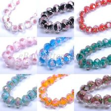 20pcs Flower Inside Faceted Rondelle Lampwork Czech Glass Spacer BEADS 12X10MM