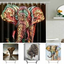 Elephant Design Waterproof Polyester Fabric Bathroom Shower Curtain & 12 Hooks