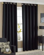 Faux Silk Curtains - Lined Black Ink Eyelet Ring Top Curtains in Multiple Size