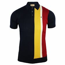 GABICCI VINTAGE KNITTED POLO SHIRT MARCO MENS NAVY TOP