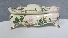 "11"" Footed Rose Designed Bathroom Soap Dish Covered Trinket Box"