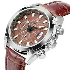 Luxury Wrist Black Brown Leather Band Quartz Watch Date Analog Sports Mens Women