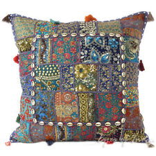 "24"" Blue Patchwork Decorative Sofa Throw Pillow Cushion Cover Indian Bohemian Bo"