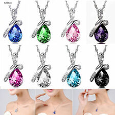 Crystal Jewelry Necklace Silver Chain HOT Women Heart Pendant NEW Rhinestone