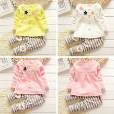 2pcs Kids Baby Girls Outfits Cotton Knitting Tops +Pant Toddler Clothes Sets