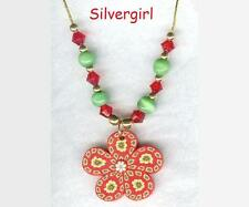 Fun Polymer Clay Pendant Necklaces Flower, Butterfly, Colorful Round Rose Fimo