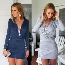 Women Summer Casual Long Sleeve Evening Party Cocktail Short Mini Dress Sundress