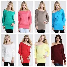 NEW WOMENS BATWING TOP LONG SLEEVE CASUAL STRETCH PLAIN TUNIC TOP PLUS SIZE 8-26