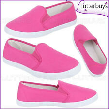 Womens Canvas Pumps slip on Shoes Plimsolls Sneakers Daps trainers Ladies New
