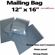 """12"""" x 16"""" MAILING BAG STRONG POLY POSTAGE POSTAL QUALITY SEAL GREY CHEAP PRICE"""