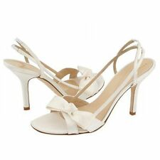Kate Spade New York Lover White Satin Dyeable Open Toe Bridal Heels Sandals