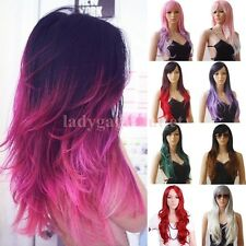 Pastel Ombre Long Wavy Curly Full Wigs Women Cosplay Party Wig Synthetic Hair ga
