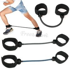 Leg Thigh Fitness Workout Exercise Latex Tube Resistance Band Ankle Straps Loop