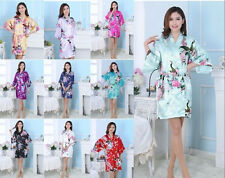 2017 NEW SALE Bridesmaid Peacock Kimono Robe Wedding Women Satin Silk Sleepwear