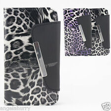 2x New Premium Leopard Credit Wallet PU Leather Case Cover For HTC Desire 300