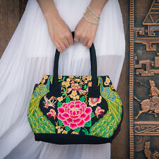 Lady Gift Ethnic Embroidery Peony Handbag Woman Shoulder Bag Totes Shoppers