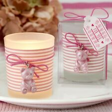 Pink Teddy bear themed frosted glass votive from PartyFairyBox / FC-8988