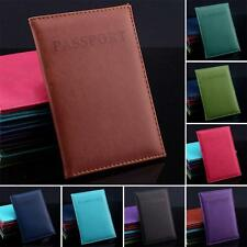 Plain Passport Cover Holder UK European Leather Black Pink Blue Brown Smooth NEW
