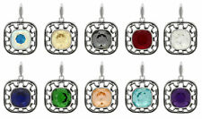 Sterling Silver Square Pendant with SWAROVSKI 4470 12mm Crystals * Many Colors