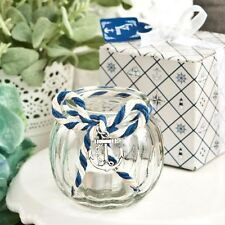 Anchor Nautical Themed clear glass round globe candle holder - Wedding Favors