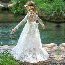 Flower Girl Princess Dress Long Vintage Lace Dance Party Dress Birthday Wedding
