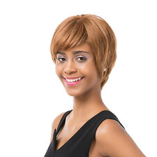 Women's Short Straight Oblique Bangs Human Hair Party Cosplay Full Wig Popular