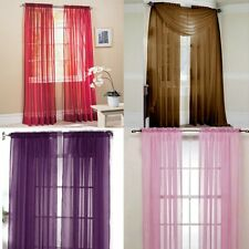 Muti Colors Tulle Voile Door Window Curtain Drape Panel Sheer Valances Scarf New