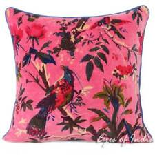 Pink Velvet Bird Throw Sofa Cushion Pillow Cover Boho Decorative Bohemian Indian